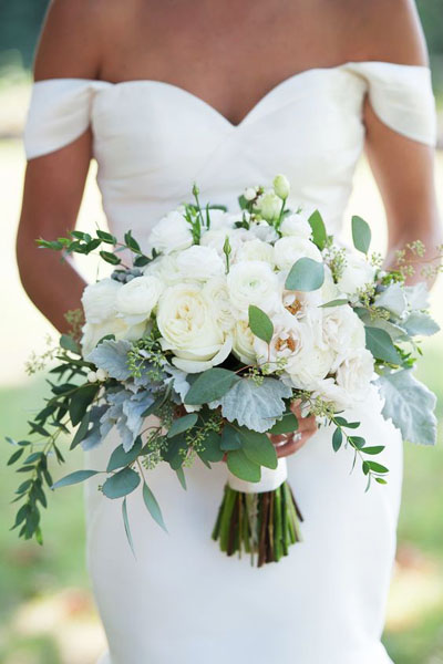 Как подобрать форму и размер свадебного букета | 600x400